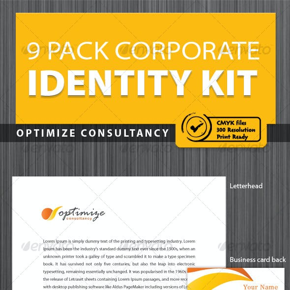 Optimize Consultancy corporate identity [9pack]