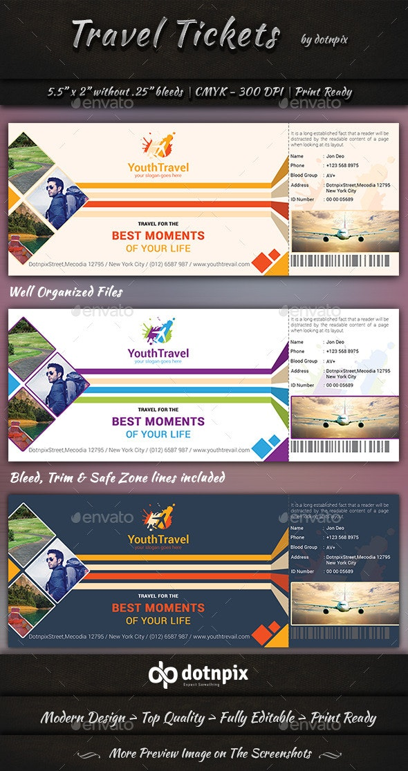 Travel Tickets - Miscellaneous Print Templates