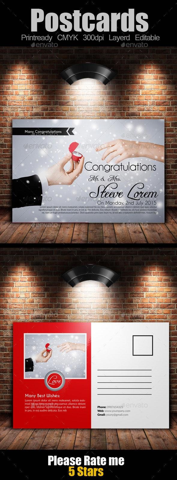 Wedding Invitation Postcard - Cards & Invites Print Templates