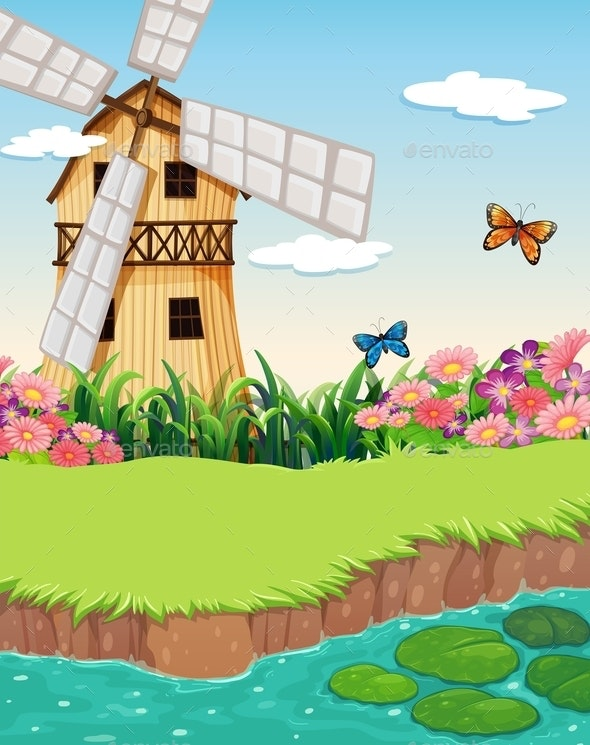 Barnhouse with a Windmill Near a River - Landscapes Nature