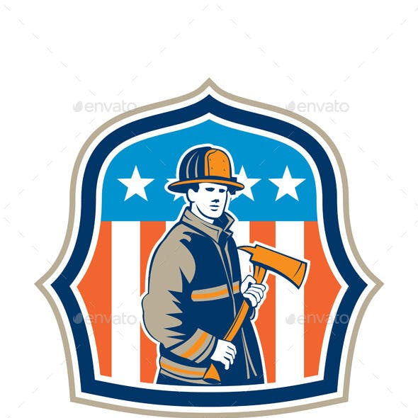 American Firefighter Fire Axe Shield