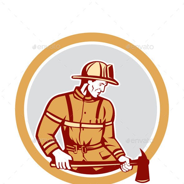 Firefighter Holding Fire Axe Circle