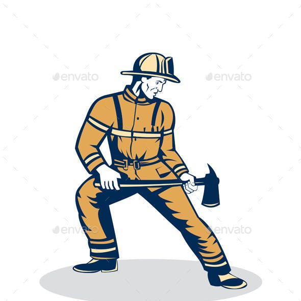Firefighter Standing Holding Fire Axe