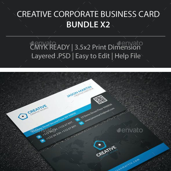 Creative Corporate Business Card Bundle X2