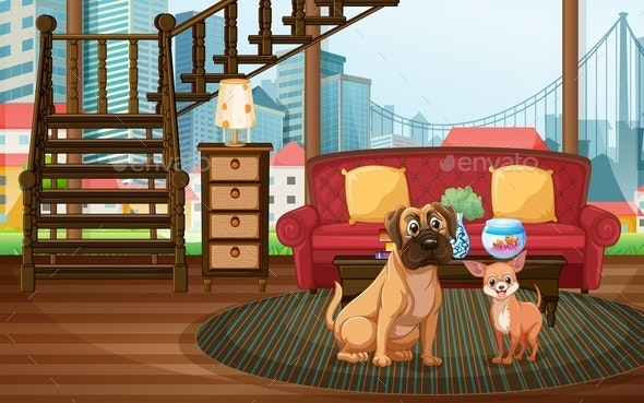 Dogs in the Living Room - Animals Characters