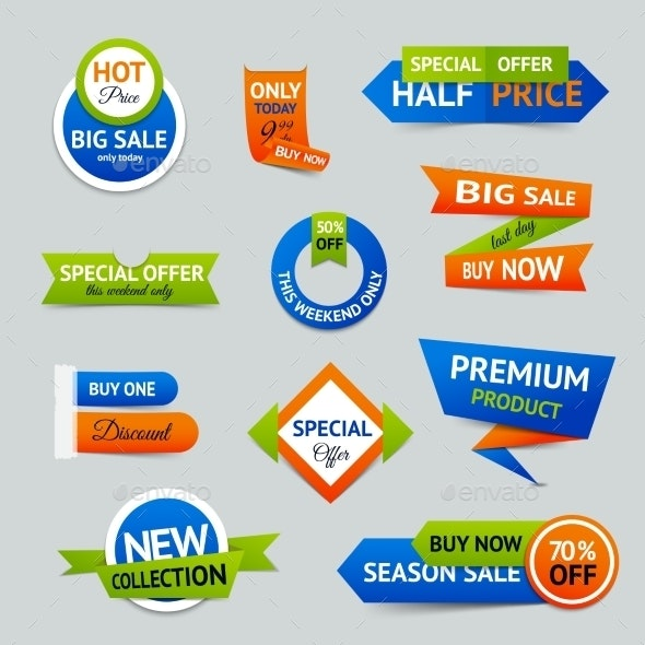 Sale Discount Origami Banners - Retail Commercial / Shopping
