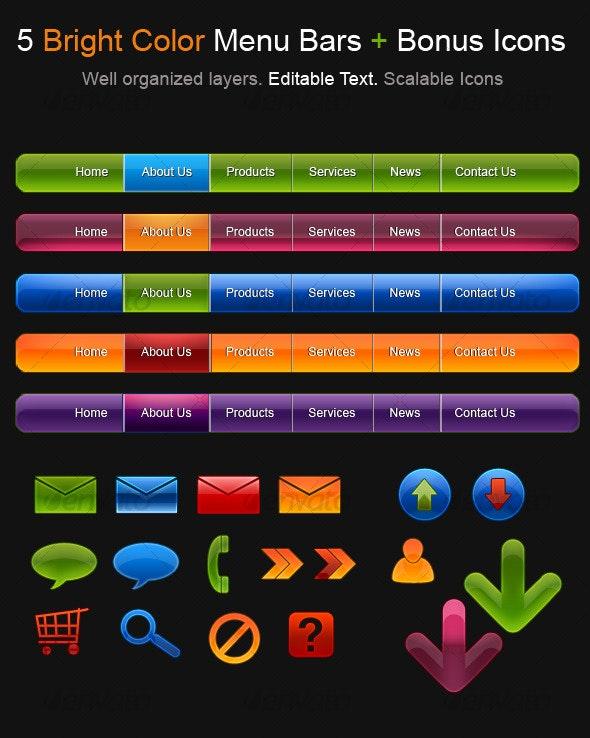 5 Bright Color Menu Bars + Bonus Icons - Web Elements