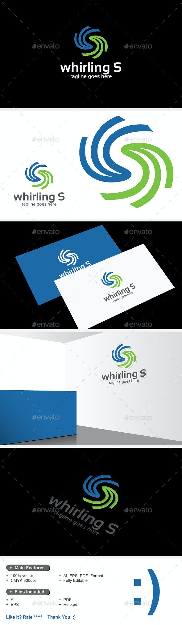 Whirling S Logo - Letters Logo Templates