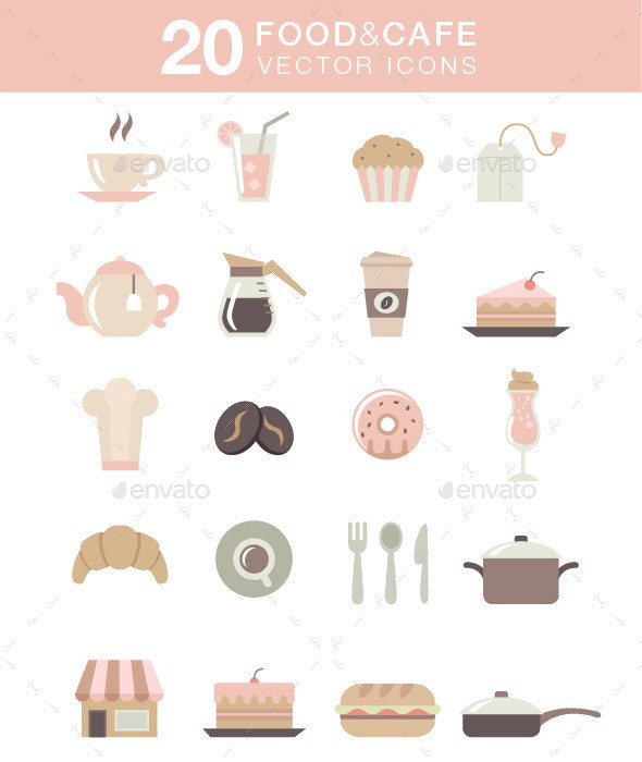 20 Colored Food & Cafe Icons - Food Objects