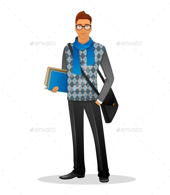 Fashion Man with Blue Scarf - People Characters
