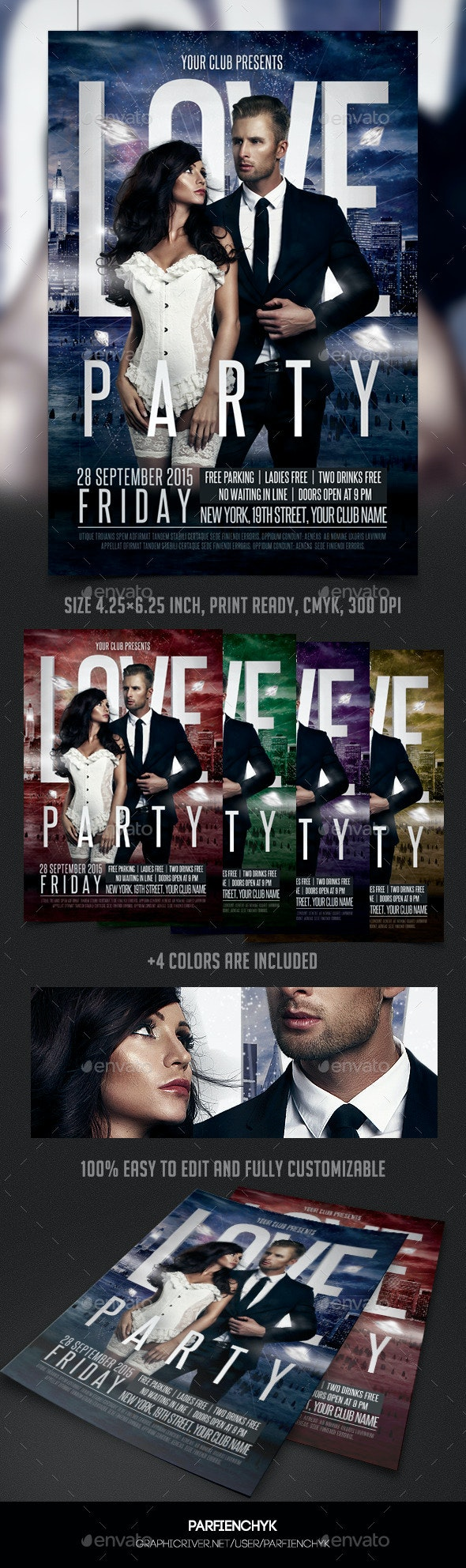 Love Party Flyer Template - Clubs & Parties Events