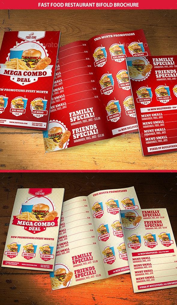 Restaurant Fast Food Menu Bifold Brochure