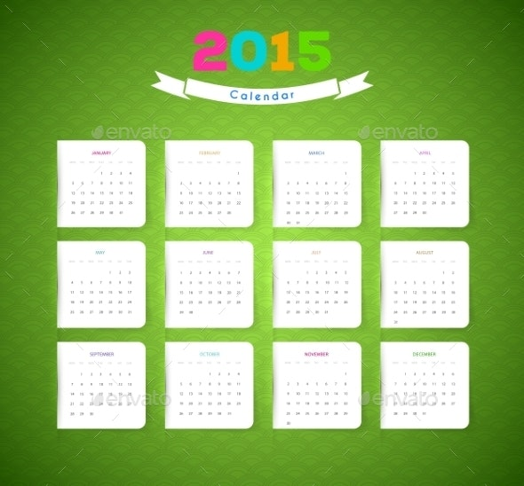Calendar for 2015 Year - New Year Seasons/Holidays