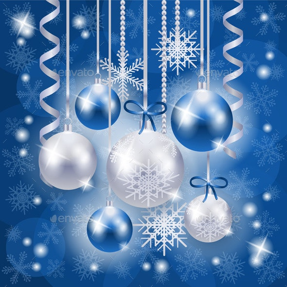 Christmas Background in Blue on Snow Texture - Christmas Seasons/Holidays