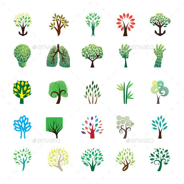 Tree Icon Set - Organic Objects Objects