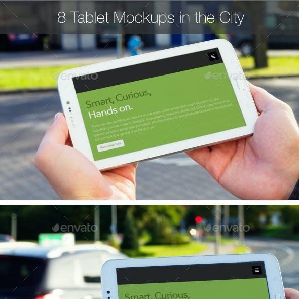 8 White Landscape Tablet Mockup in the City