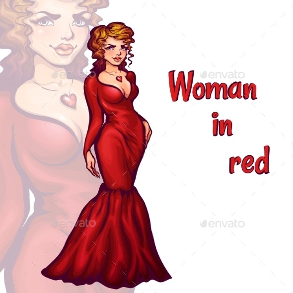 Woman in Elegant Red Dress - People Characters