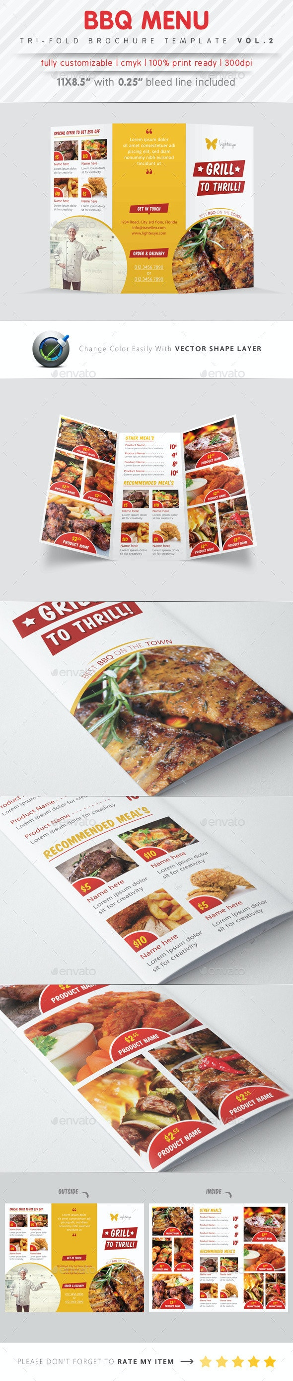 BBQ Menu Tri Fold Template - Food Menus Print Templates