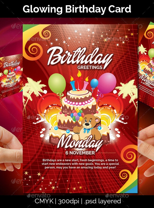 Glowing Birthday Card - Birthday Greeting Cards