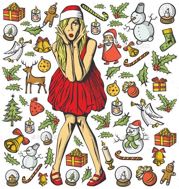 Christmas Card with Woman - Christmas Seasons/Holidays