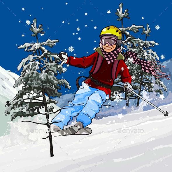 Skier Skiing - Sports/Activity Conceptual