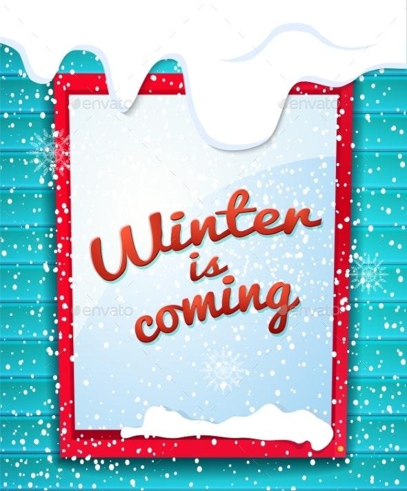 Rectangular Window Outside House in Winter - Christmas Seasons/Holidays
