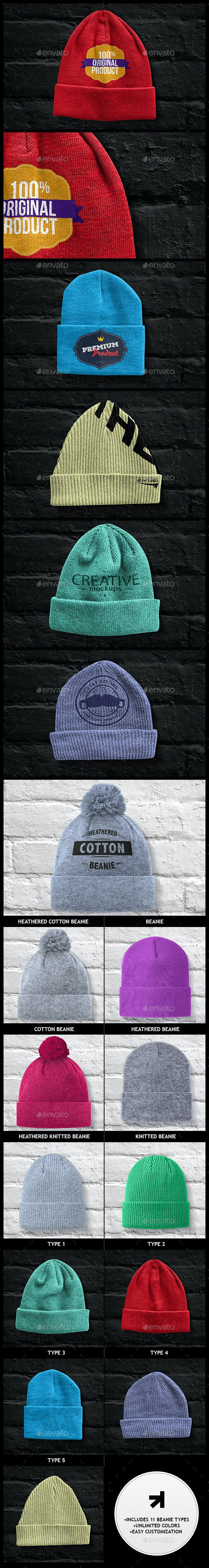 Beanies Pack Mock Up - Apparel Product Mock-Ups