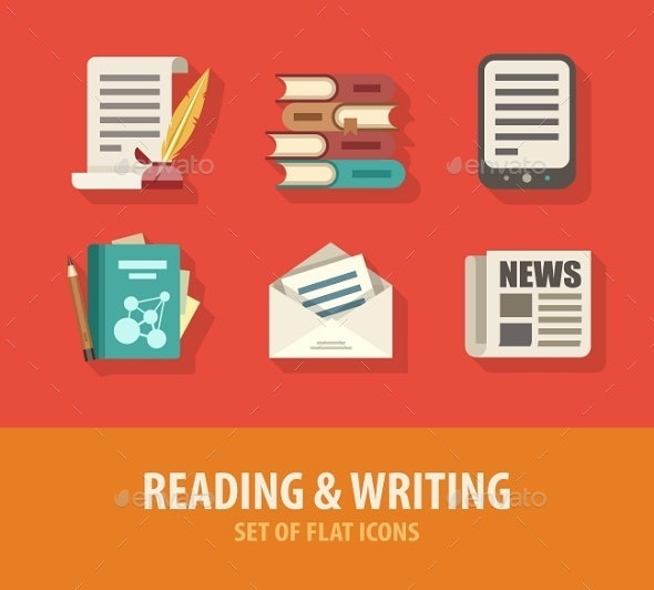 Literature Reading and Writing Set of Flat Icons - Web Elements Vectors