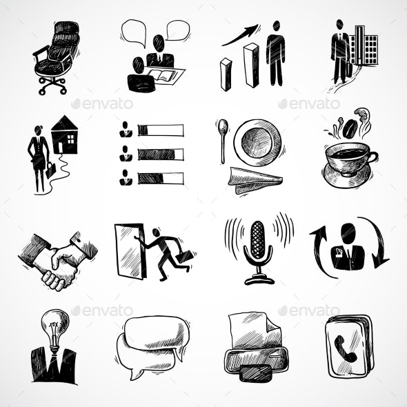 Office Sketch Icons Set - Concepts Business