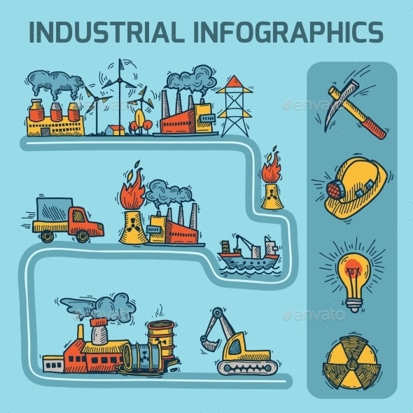 Industrial Sketch Infographic Set - Web Technology