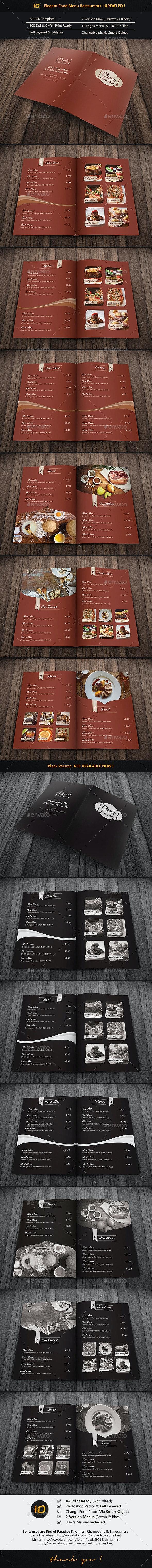 Elegant Food Menu Restaurant - Food Menus Print Templates