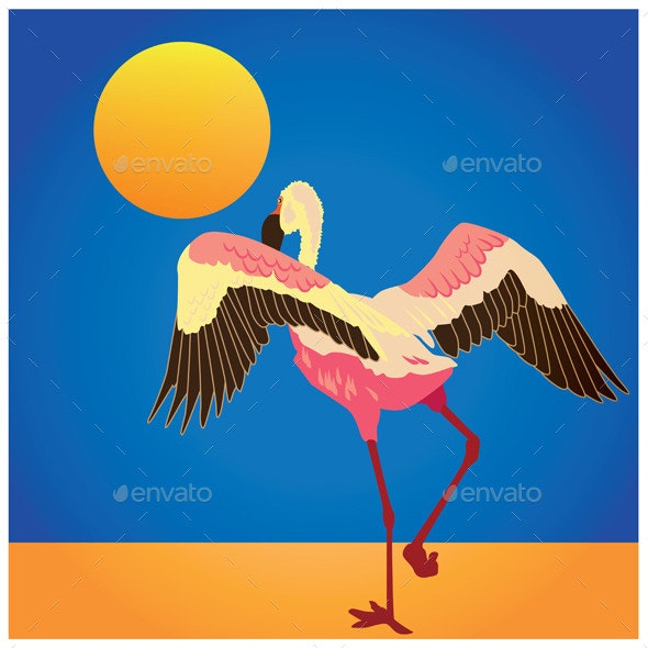 Flamingo on the Shore - Animals Characters