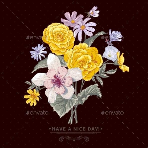 Vintage Floral Bouquet Botanical Greeting Card - Flowers & Plants Nature