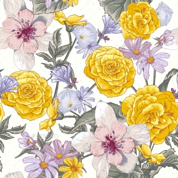 Seamless Floral Botanical Pattern with Wildflowers - Flowers & Plants Nature