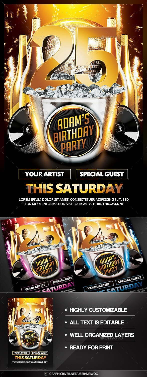 Birthday Party Flyer v3 - Clubs & Parties Events