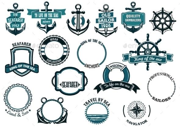 Set of Nautical or Marine Themed Icons - Decorative Symbols Decorative