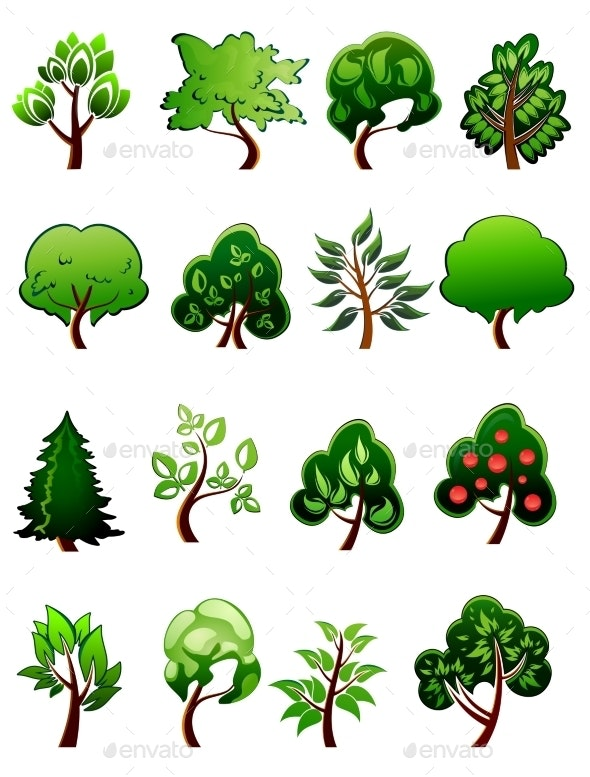 Set of Cartoon Green Plants and Trees - Flowers & Plants Nature