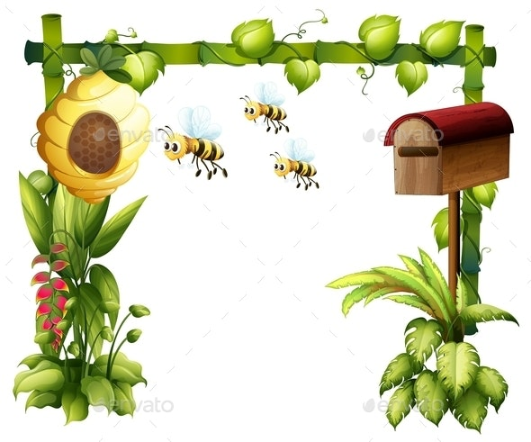 Bees in the Garden with a Mailbox - Animals Characters