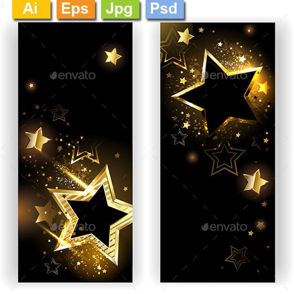 Two Banners with Golden Stars