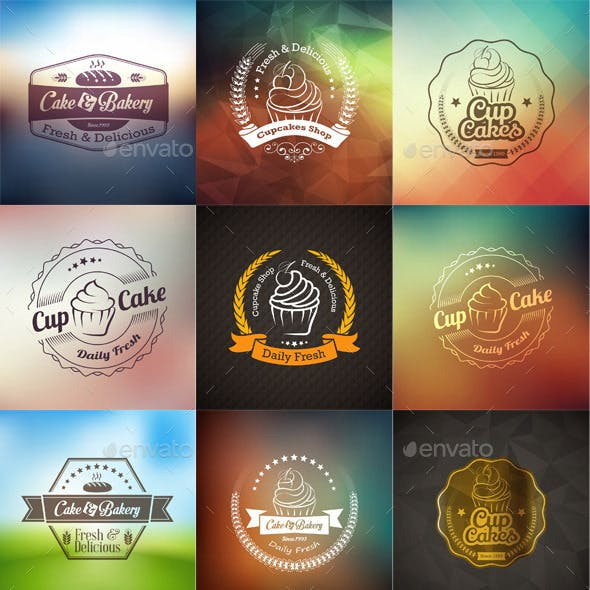 Badges and Labels of Vintage Cupcakes
