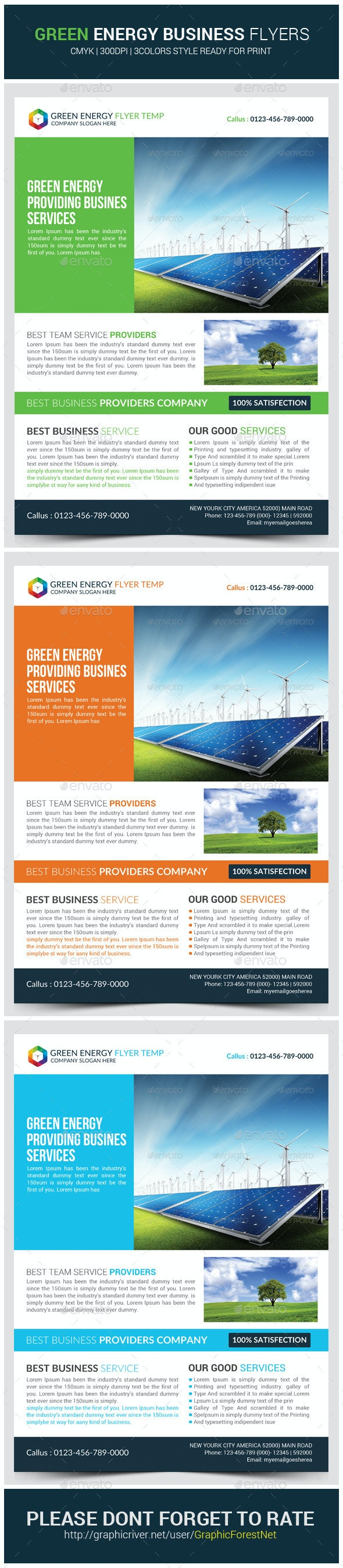Green Energy Business Flyer Template - Corporate Flyers