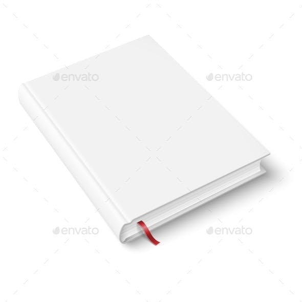 Blank Book Template with Bookmark