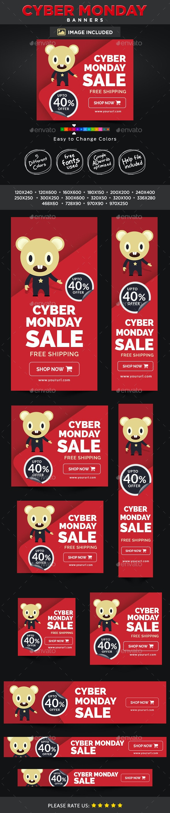 Cyber Monday Banners - Banners & Ads Web Elements