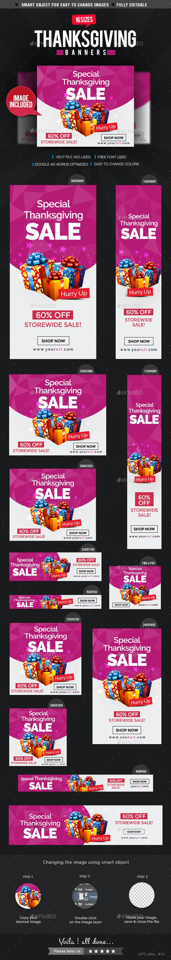 Thanksgiving Web Banner Set - Banners & Ads Web Elements