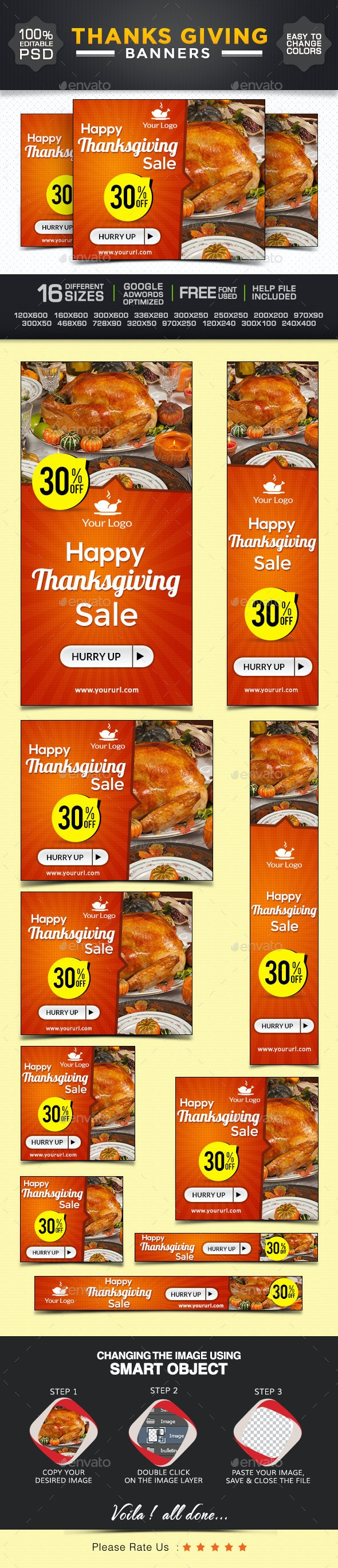 Thanksgiving Web Banner Design - Banners & Ads Web Elements