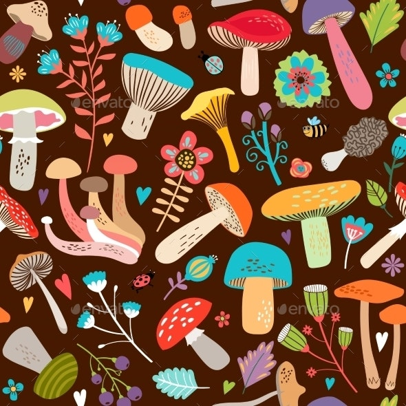 Assorted Leaves and Mushrooms on Brown Background - Seasons Nature