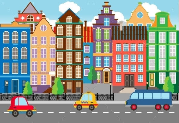 Seamless Cartooned City Life Graphic - Backgrounds Decorative