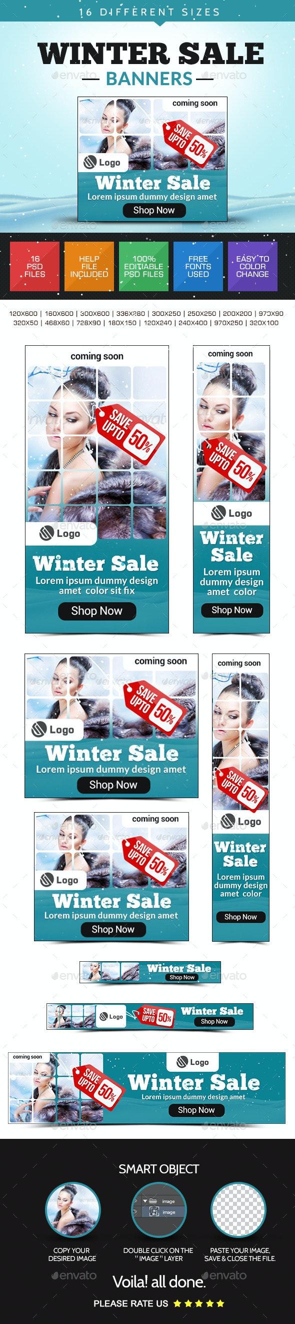 Winter Sale Banner Design Set - Banners & Ads Web Elements