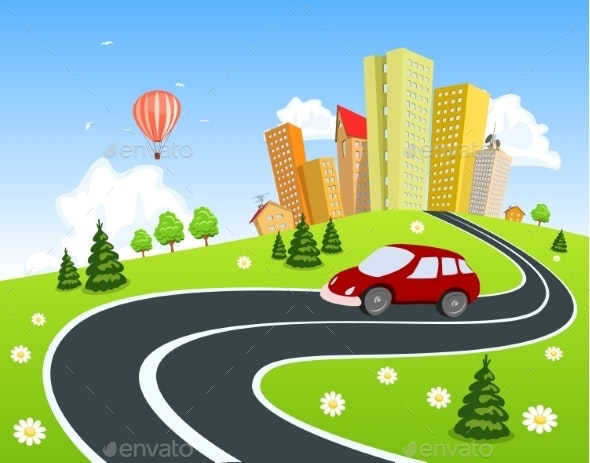 Cityscape with Car - Landscapes Nature