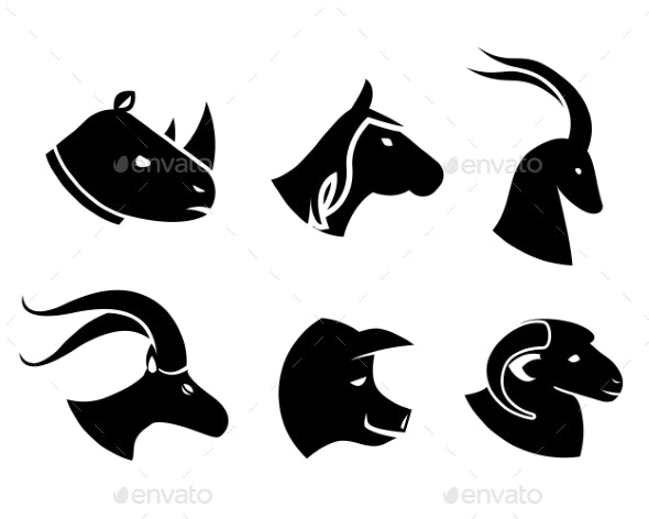 Set of Black Animal Head Icons - Animals Characters